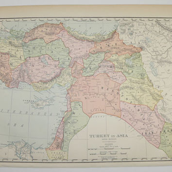 Vintage Map Turkey in Asia Map 1899 Antique Map, Syria Palestine Map Armenia Kurdistan Map Anatolia, Middle East Map, Historical Map Gift