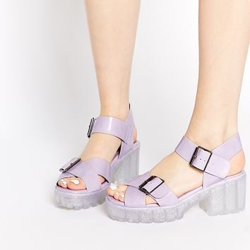 New Look Pollock Jelly Heeled Sandals at asos.com