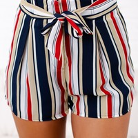Rain Storm Striped Tie Front Shorts (Red/Multi)