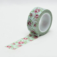Mint Floral Vintage  wide Washi Tape - craft supplies - scrapbooking- planner stickers- floral washi - LMT 369 - Love My Tapes
