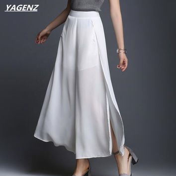 YAGENZ Women Wide Leg Pants Long Loose Split Fork Sexy See Through Solid Color Black White Casual Chiffon Wide Leg Pants K139