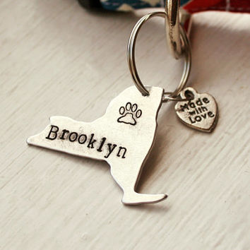 Hand Stamped New York Dog ID Tag - New York Pet ID Tag -  New York State Dog Tag - Handmade Pet Accessories - Aluminum Pet Tag Paw Print