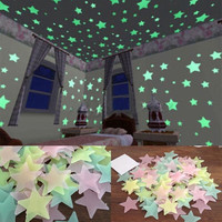 1 SET 100pcs 3D Stars Glow In The Dark Luminous Fluorescent Wall Stickers Kids Bedroom