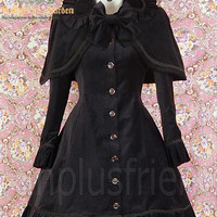 Dolly Gothic Lolita: Black Heavy Velveteen Dress with Cape - fanplusfriend
