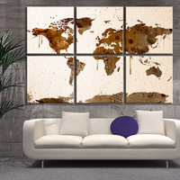 Large Canvas Print - 6 Panel Watercolor World Map, Extra Large Wall Art Watercolor World Map Print