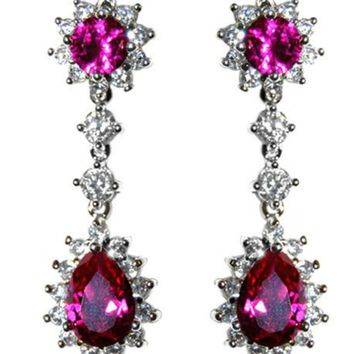 Kimmy Ruby Pear Drop Dangle Chandelier Earrings | 6ct | Cubic Zirconia | Silver