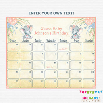 Baby Due Date Calendar, Elephant Baby Shower Girl, Guess Baby's Birthday, Printable Baby Calendar, Watercolor, Editable PDF Download, ELWP