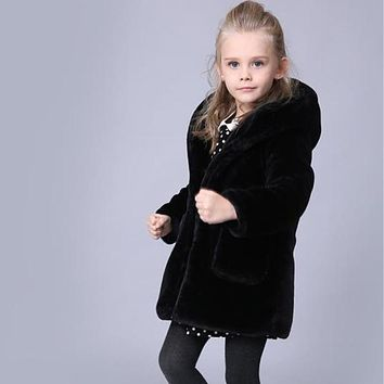 Clobee Winter Faux Fur Black Cotton Coat Warm Jacket Snowsuit Outerwear Baby Children Clothes Hooded Fake Fur Overcoats F195
