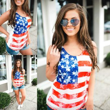 2019 new American flag printed vest T-shirt