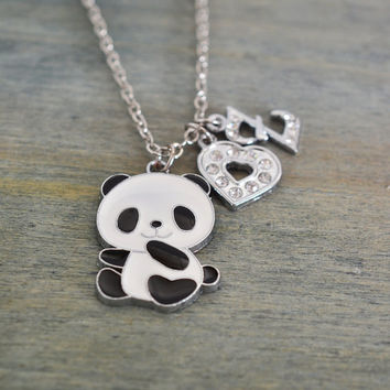 panda necklace, personalized jewelry, black and white panda, heart jewelry, sweet 16 gift, fun, animal necklace, christmas, best friend gift