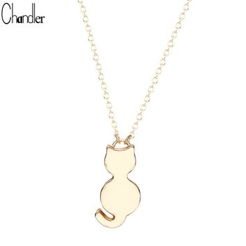 Silver Plated Cute Cat Kitty Miaow Pendant Necklaces For Women Girls Long Chain Minimalist Brand Fine Jewelry Love Gifts