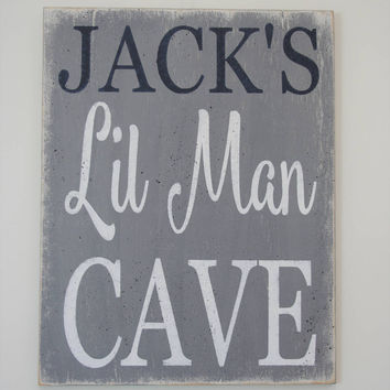 Lil Man Cave Wood Sign Boys Nursery Decor Boys Room Decor Navy And Gray Nursery Decor Baby Shower Gift Personalized Gift Rustic Nursery