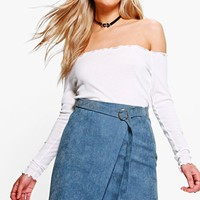 Athena Cord Asymetric Mini Skirt | Boohoo