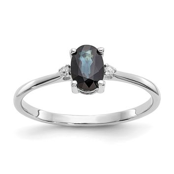 14k or 10k White Gold Diamond & Blue Sapphire September Birthstone Ring