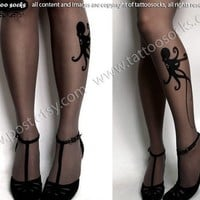 brand new color GREY sexy OCTOPUS tattoo THIGH HIGH by post