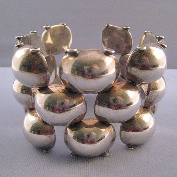 Wide Taxco Mexican Sterling Modernist Puffed Link Bracelet