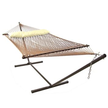 Sunnydaze Decor Brown Hammock with Stand and Pillow