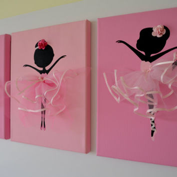 Dancing Ballerinas Wall Art. Set of three pink dancing ballerinas.