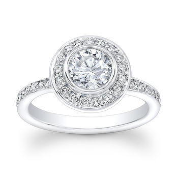 Ladies 18kt white gold vintage engagement ring with 1ct Round White Sapphire Center and 0.50 ctw G-VS2 pave diamonds