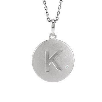 The Emma Sterling Silver Diamond Block Initial K Disc Necklace, 18 In.