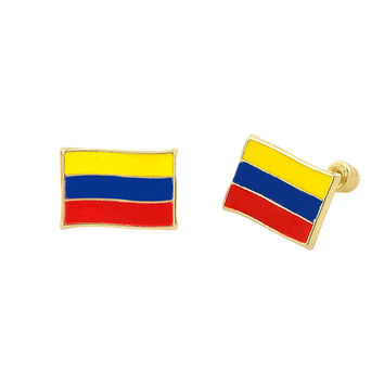 10k Yellow Gold Columbia Flag Earrings with Screwbacks