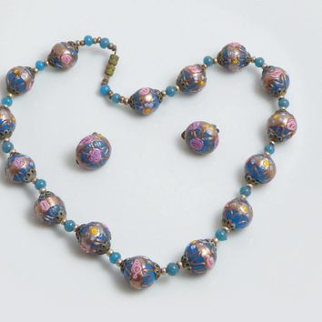 Venetian Wedding Cake Blue Necklace and Matching Clip Earrings