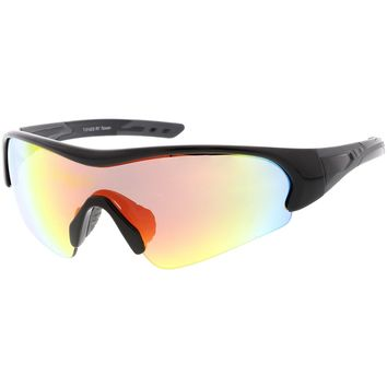 Sports TR-90 Semi-Rimless Wrap Shield Sunglasses Colored Mirror Mono Lens 72mm