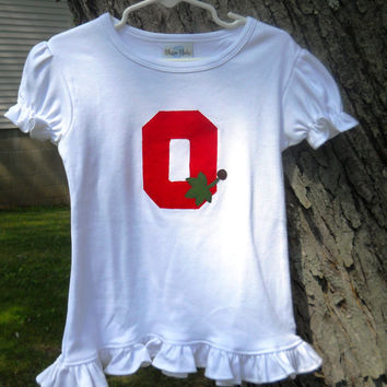 Ohio State Girl Top Shirt Block O With Leaves Buckeye Organic Cotton Long or Short Sleeve Birthday Gift Made To Order