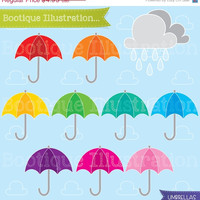 75% OFF Umbrellas Clipart Set. Includes 9 unbrella vector graphics in various colours, a rain cloud graphic and a cloudy sky digital paper.
