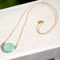 Faceted Bezel Set Aqua Blue Chalcedony Necklace - 14k Gold Filled Chain
