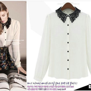 White And Black Lace Collar Bishop Long-Sleeve Chiffon Blouse