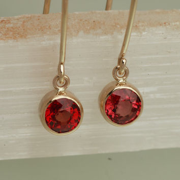 Ruby 14k Yellow Gold Bezel Set Dangle Earrings Round Shape Fine Gemstone Jewelry Gift for Her