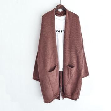 Big Pockets Long Sleeve Loose Cardigan Knit Outerwear