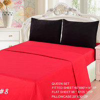 Tache 4 Piece Vibrant Red/Black Bed sheet Set (Queen)