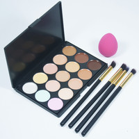 4pcs/set Makeup Brush And  Cosmetic  Foundation Sponge Powder puff +15 Concealer Palette Facial Face Cream  makeup Tools Set Hot