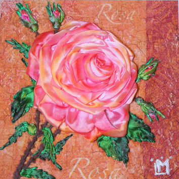 Framed Limited Edition Pink Rose Floral Wall Textile Romantic Home Office Unique Wall Hanging Fiber Art 3d Ribbon Embroidery