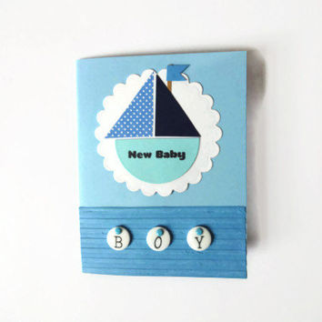 Baby Boy Card Baby Card Blue Sailboat