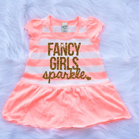 Fancy Girls Sparkle Girl's Dress Girl's Shirt Baby Girl Clothes Baby Girl Shirt Hipster Baby Clothes Baby Gift Gold Sparkle #10