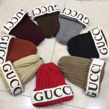 """Gucci"" Autumn Winter Fashion Logo Letter Headband Webbing Knit Hat Women Warm Hat"
