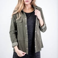 Olive Corduroy Button Up Jacket