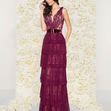 Mac Duggal - 50423D Deep V-Neck Column Gown