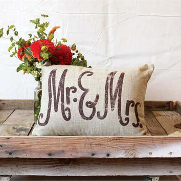 Mr. & Mrs. Linen Woven Pillow