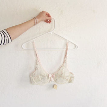 sheer pastel embroidered bra . vintage boudoir . large BOW .36B