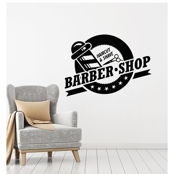 Vinyl Wall Decal Haircut Shave Barber Shop Inscription Scissors Stickers Mural (g1329)