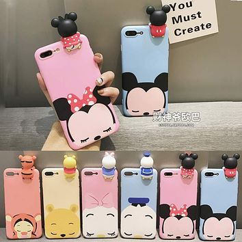 Fashion 3D Cute Mickey Minnie Mouse Donald Duck Case For iphone 6 Plus Cartoon Case For iphone 7 6s Plus Soft Silicon Cover Case