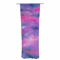 "Viviana Gonzalez ""Beautiful Galaxy II"" Pink Blue Abstract Contemporary Watercolor Mixed Media Decorative Sheer Curtain"