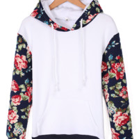 Floral Long Sleeve Hooded Jacket