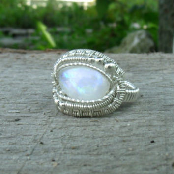 Wire Wrap Ring Rainbow Moonstone 925 Sterling Silver Size 7 Handmade Heady Jewelry