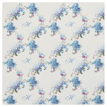 Monogram Blue Floral Forget Me Not Fabric