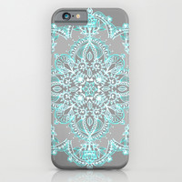 Teal and Aqua Lace Mandala on Grey iPhone & iPod Case by Micklyn